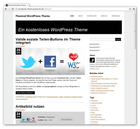 Fleximal WordPress Theme in der Browser-Anischt