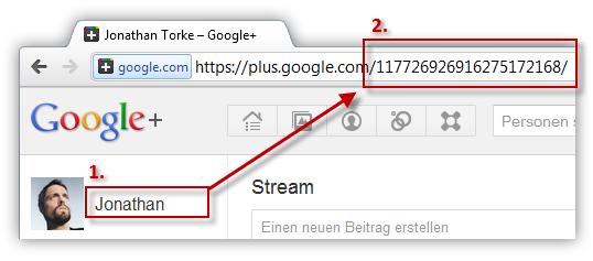 Google plus Benutzer ID