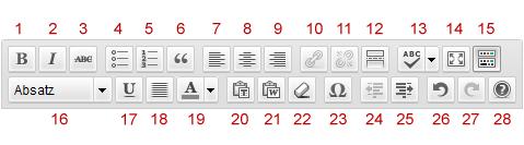 WordPress Texteditor Werkzeugleiste