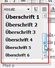 Text formatieren über Absatz-Auswahl