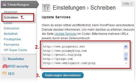 Schreibeinstellungen: Updates Services