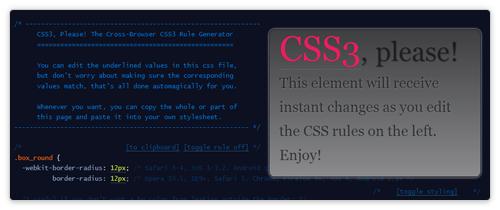 CSS3 Online Generator von css3please.com