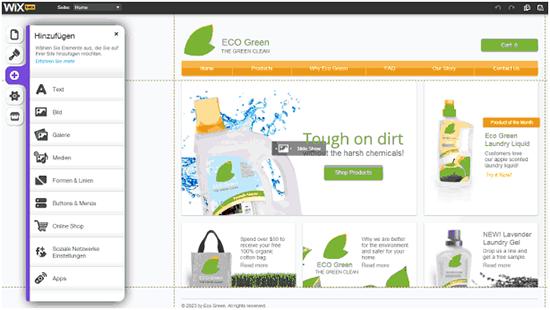 Umfangreiche Drag & Drop-Funktion zur Erstellung von Webseiten