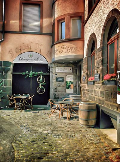 Weingau Stube Limburg: Digital Oil Painting Vorher-Nachher-Effekt