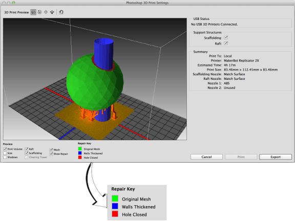 Photoshop CC: Erweiterte Optionen für 3D-Druck