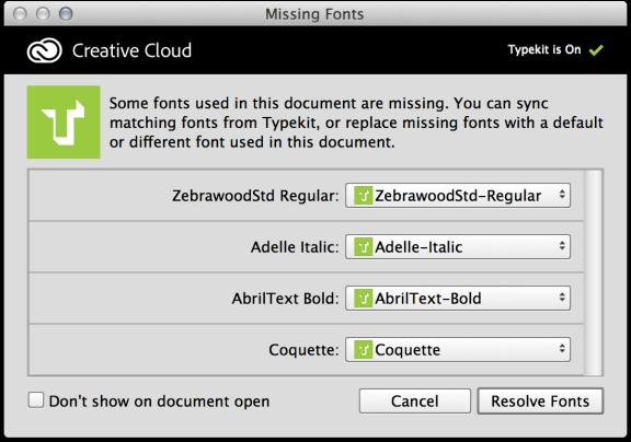 Photoshop CC: Verwendung von Typekit-Schriften