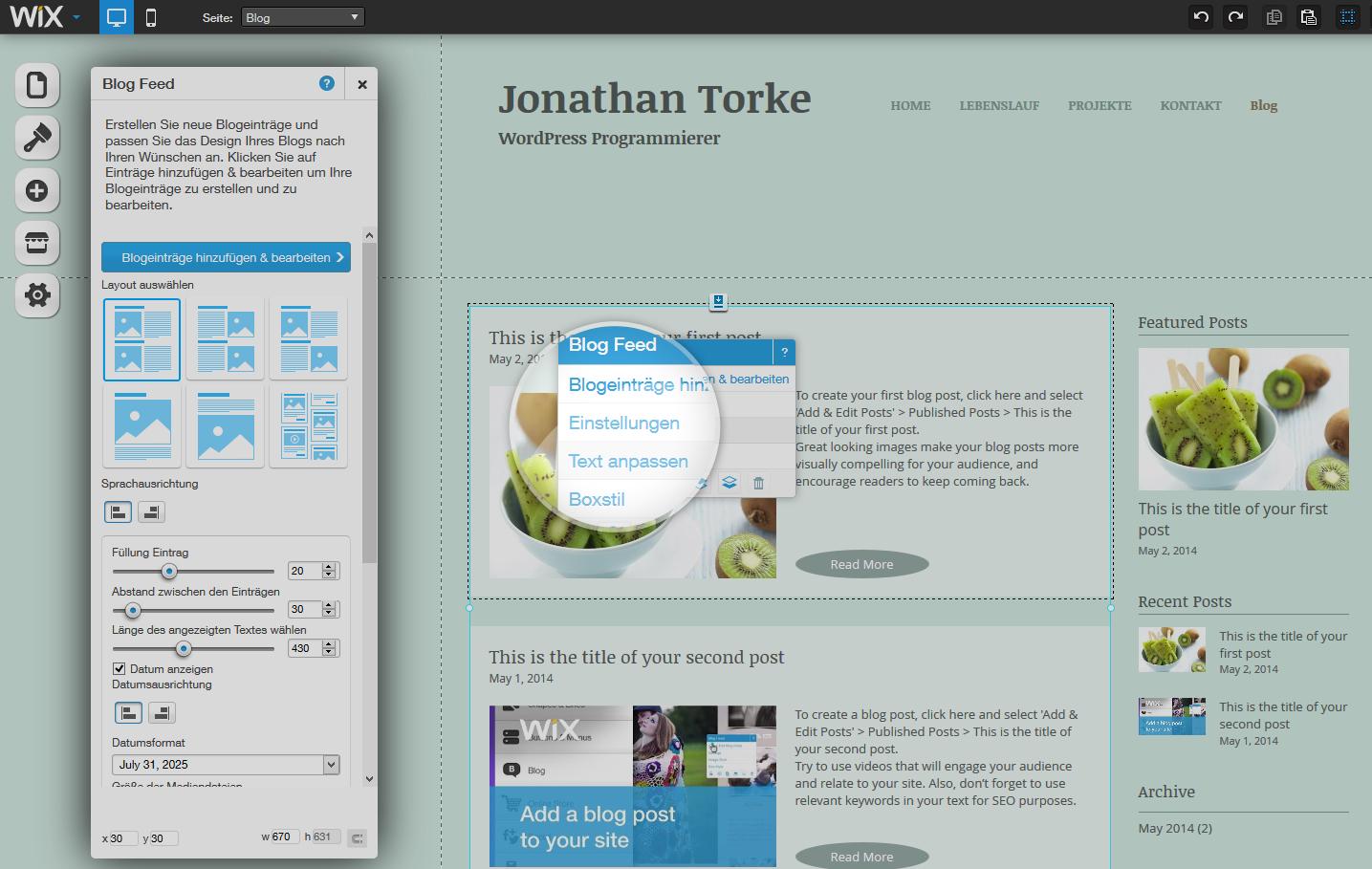 Einen Blogfeed mit Wix erstellen