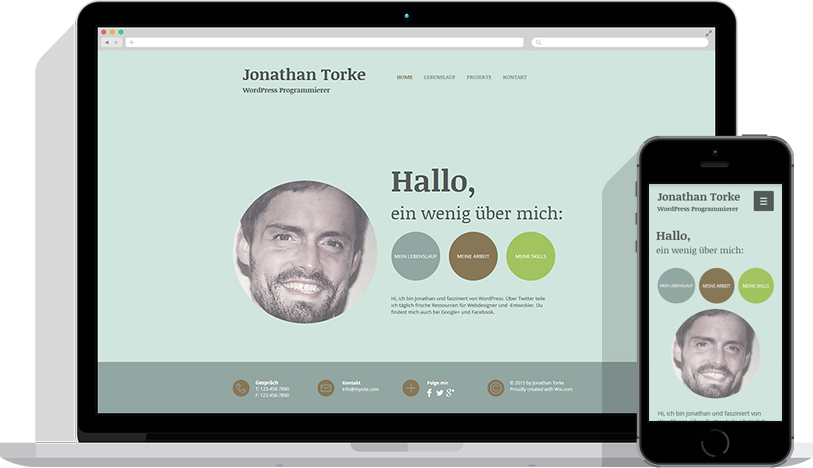 Wix HTML Homepage Vorlage für Lebenslauf und Bewerbung