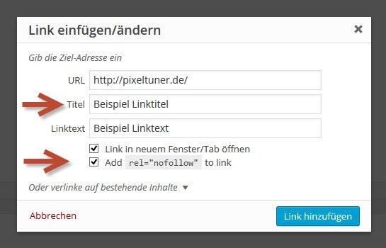 """WordPress Editor: """"Link einfügen""""-Popup Fenster mit Titel- und nofollow-Feldern"""