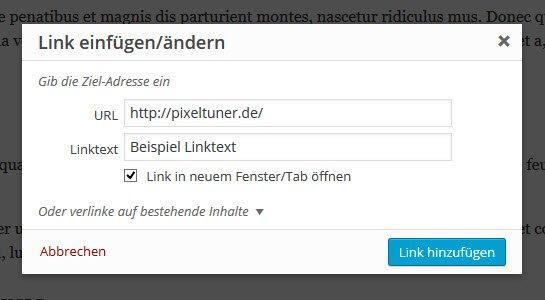"""WordPress Editor: """"Link einfügen""""-Popup Fenster mit den Standardeinstellungen"""