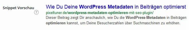 Bei entsprechender Suchanfrage werden die Keywords von Google fett hervorgehoben