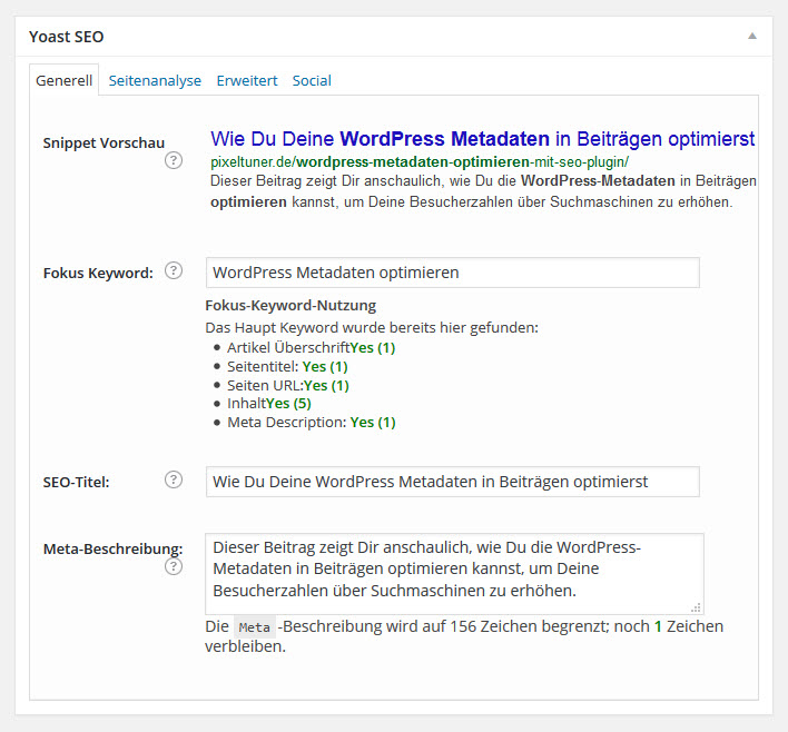 Metadaten von dem Yoast WordPress SEO Plugin