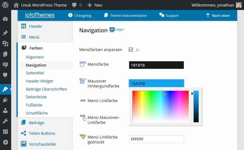 Das Unuk WordPress Theme bietet viele Standard Farbvorlagen und viele Optionen, die Farben Deiner WordPress-Site nach Belieben zu ändern