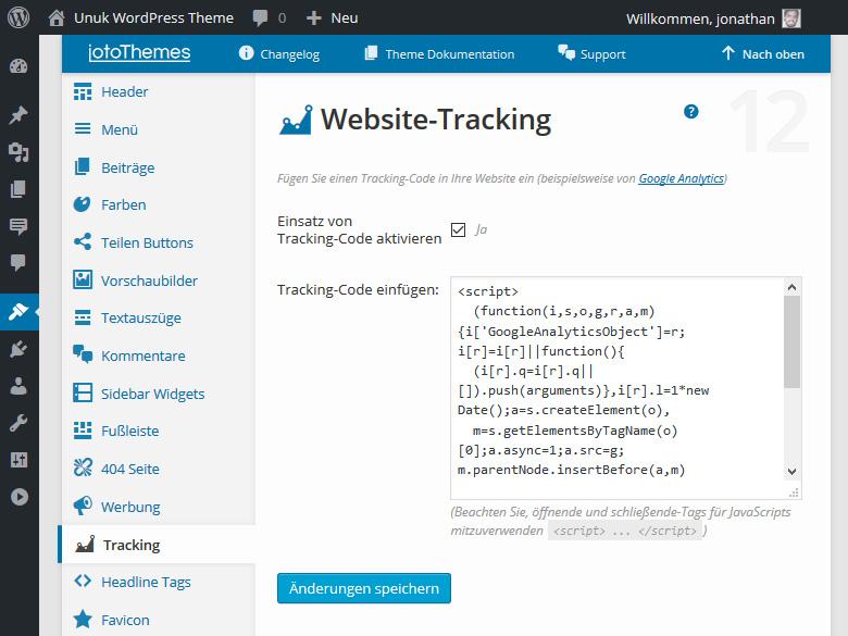 Unuk WordPress Theme kommt mit vielen nützlichen Funktionen, wie z.B. das Hinzufügen eines Tracking Codes.