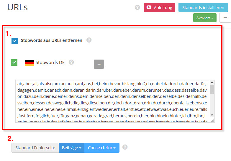DELUCKS WordPress SEO Plugin: URLS Stopwords definieren