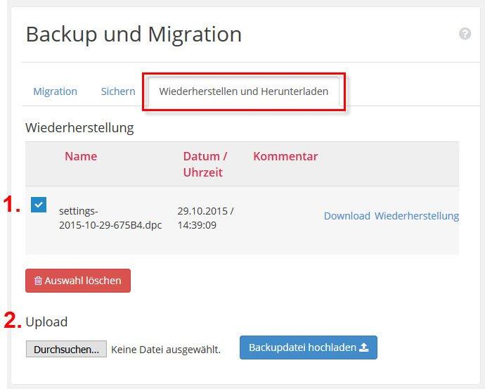 WordPress Backup und Migration – Wiederherstellen und Herunterladen