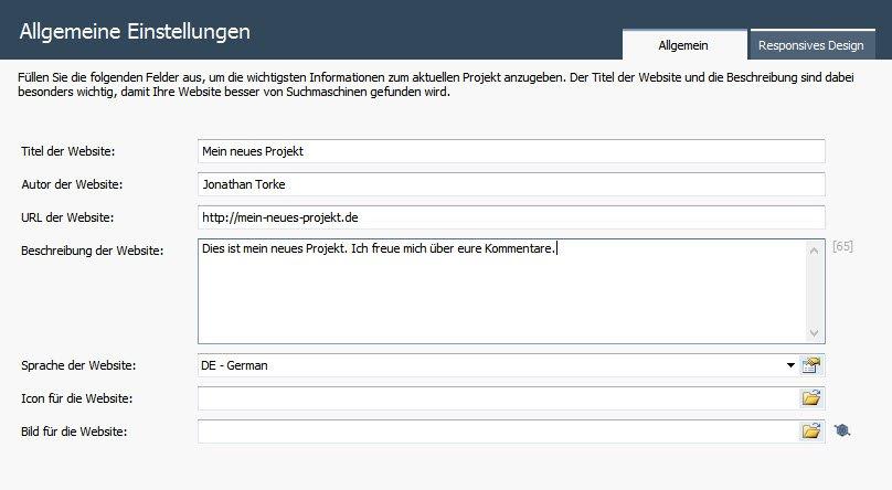 Allgemeine Einstellungen von WebSite X5
