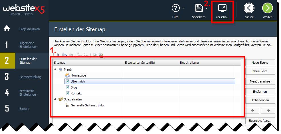 Erstellen der Sitemap mit WebSite X5