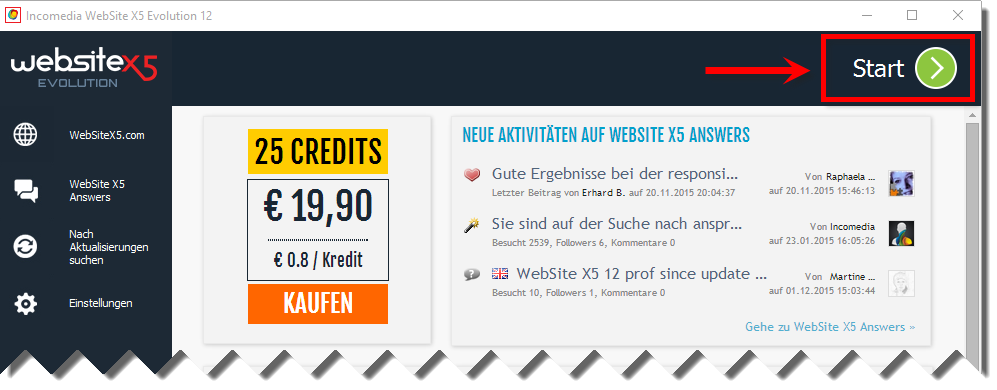 WebSite X5 12 Start