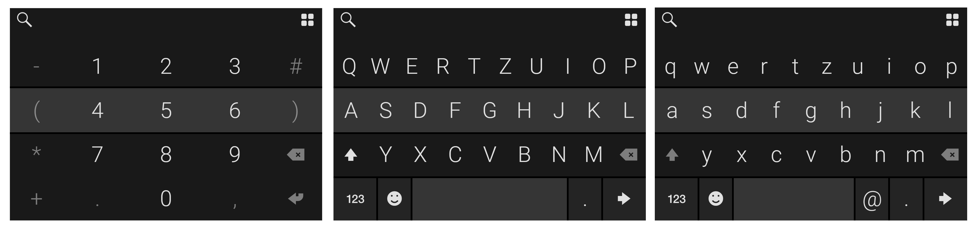 Je nach Feldtyp wird das passende Tastaturlayout angezeigt.