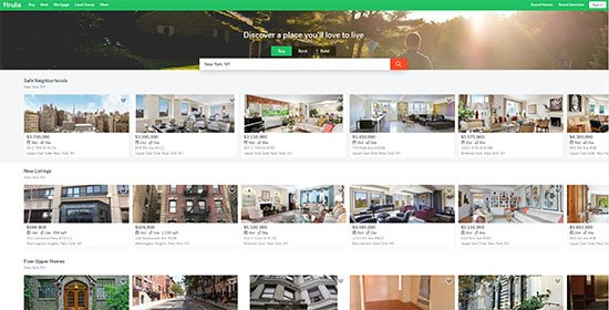 Landing-Page Design von trulia.com
