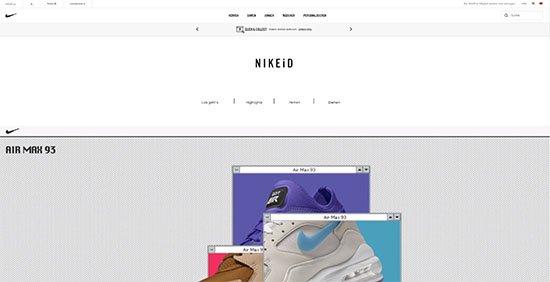 Landing-Page Design von nike.com
