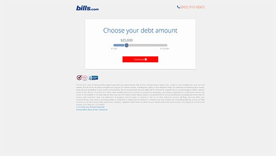 Landing-Page Design von debt.bills.com