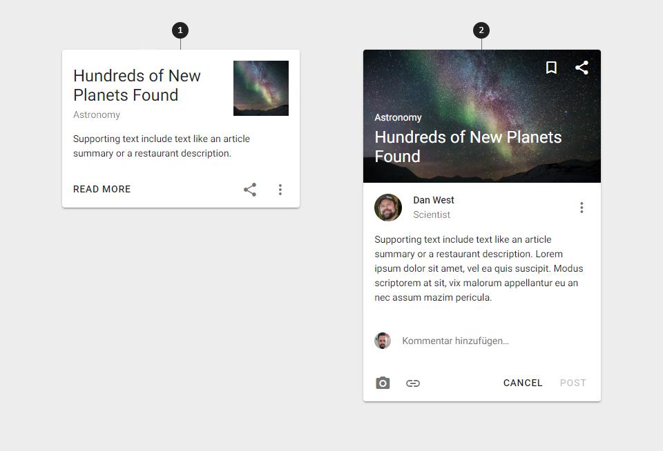 Material Design Karte für Blog-Teaser und Beitrag mit Kommentarfunktion